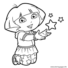 Dora Stars Happy Coloring Pages Print Download