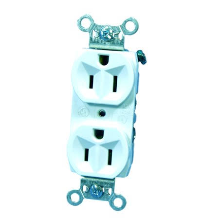 Pass and Seymour Heavy Duty Duplex Outlet - White, 15A