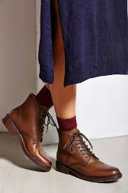 frye james lug lace up boot in brown lyst