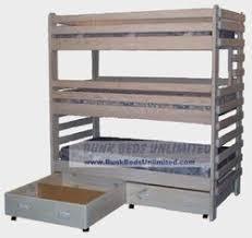 triple bunk plan with storage drawers