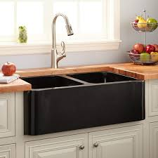 36 Double Faucet Trough Sink by Black Polished Sink Signature Hardware