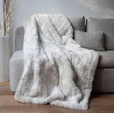plaide canapé plaid fausse fourrure loup blanc 140x180cm home loups