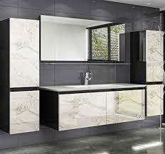 homeline cobra badmöbelset schwarzer korpus weiss marmor optik fronten waschbeckenunterschrank mit keramik becken spiegel glas ablage 4x