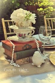 Books And Vintage Tea Pots Make Up Wonderful Centerpieces Decorations For Such Parties