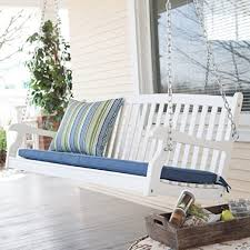 terrasse schaukel für zwei personen holz langlebige finish weiß coral coast bay alle wetter gebogen veranda 4 ft im freien