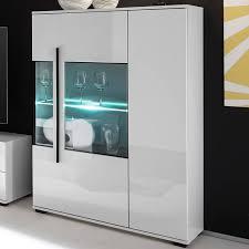 wohnzimmer wohnwand mit glaseinsätzen in grauglas colorado 61 in weiß hochglanz inkl vitrine mit led bxhxt 320x200x42cm