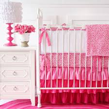 girly pink leopard ruffle crib bedding set pink leopard bed