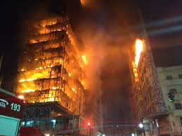 100 Massage Parlor Sao Paulo Burning Highrise Occupied By Squatters Collapses In