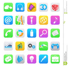 Ios 7 Style Mobile App Icons Isolated White Bac Stock Vector