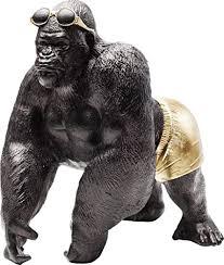 kare design deko objekt monkey 30cm deko affe als accessoire für das wohnzimmer lustiger gorilla mit sonnenbrille in gold h b t