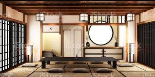 japanisches wohnzimmer mit le rahmen schwarzer tieftisch und bonsai im zimmer weiße wand auf boden tatami matte 3drendering stockfoto und mehr