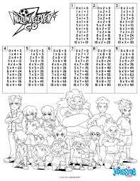 coloriages tables de multiplication inazuma eleven fr hellokids