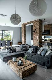 wohnzimmer ideen wohnzimmer graues ecksofa rustikaler