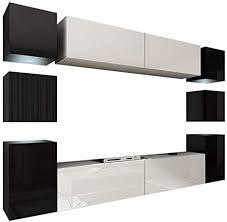 homedirectltd future 14 wohnwand anbauwand wand schrank möbel tv schrank wohnzimmer wohnzimmerschrank hochglanz weiß schwarz led rgb beleuchtung