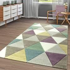 moderner kurzflor teppich dreiecke beige pastell türkis gelb