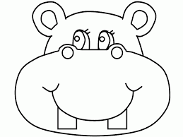 Hippo Funny Face Cartoon Coloring Pages