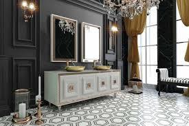 casa padrino luxus badezimmer set weiß bronze gold 1 waschtisch mit 4 türen und 2 waschbecken und 2 wandspiegel luxus badezimmermöbel