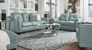lr rm marcella spa blue Cindy Crawford Home Marcella Spa Blue Leather 3 Pc Living Room