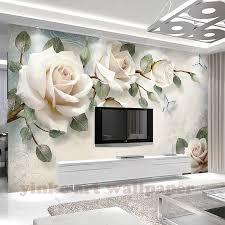 individuelle fototapeten malerei 3d weiße blumen wandmalereien wohnzimmer tv sofa hintergrund tapeten moderne wohnkultur zimmer