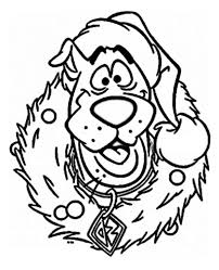 Scooby Doo Wearing Christmas Wreath On Coloring Page