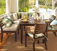 Traditional Pottery Barn Dining Room With Rectangular Bead Board Outdoor Kitchen Table And L Shaped Wooden
