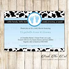 30 Baby Shower Invitations Cow Boy Baby Shower Blue Animal Print