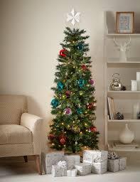 Pencil Xmas Trees Pre Lit by 6ft Slim Christmas Tree M U0026s