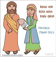 Boaz And Ruth Holding Baby Obed Paper Dolls Or Stick Puppets