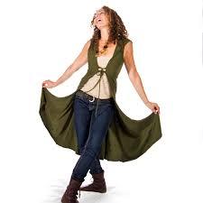long corset front vest jacket with hood jedi vest dance wear
