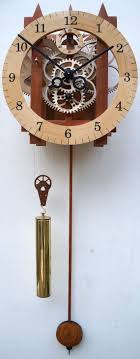 Large Wooden Mechanical Skeleton Wall Clock With Pendulum Weight Driven Gears