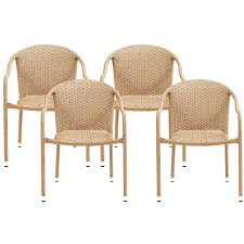 Crosley CO7109-LB Palm Harbor Outdoor Wicker Stackable Chairs-Light Brown -  4pc Gdf Studio Dorside Outdoor Wicker Armless Stack Chairs With Alinum Frame Dover Armed Stacking With Set Of 4 Palm Harbor Stackable White All Weather Patio Chair Bay Island Noble House Multibrown Ding 2pack Plowhearth Bistro Two 30 Arm Brown 51 Bfm Seating Ms11cbbbl Gray Rattan Inoutdoor Restaurant Of Red By Crosley Fniture