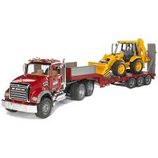Buy Bruder 1:16 MACK Granite Low Loader Truck With JCB Backhoe ...