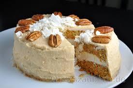 karottenkuchen mit kokos cashew creme ohne mehl und zucker