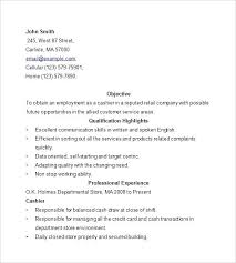 Resume Cashier Examples Example For Experience