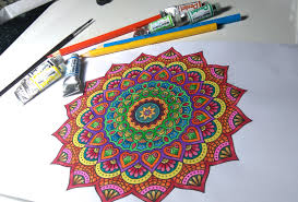 Flower Mandala In Yellow Orange And Red Pink Blue Craft Ideas