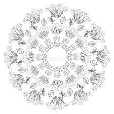 Download Vector Black White Round Spring Floral Mandala