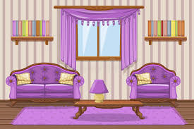 stellen sie karikatur gepolsterte möbel violettes