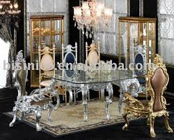New Antique Hand Carving Luxury Dining Room Furniture Setglass Top Round Tableking