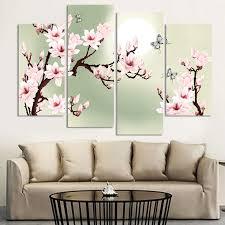 4 stück leinwand grün rosa dekoration orchideen malerei wandbilder für wohnzimmer moderne blumenbilder