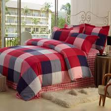 England Style Plaid Red Cotton Duvet Cover Set of 4 piece Buy Red