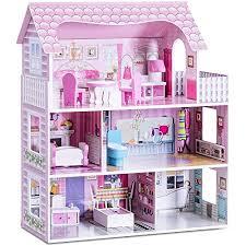 goplus puppenhaus mit möbeln und zubehör puppenstube mit 3 spielebenen mit accessoires haus für puppen 3 etagen prinzessinhaus selber bauen rosa