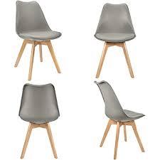 vadim 4er set esszimmerstühle tulpe esszimmer holzbeine stuhl küchenstuhl modern design mit massivholzbeinen kunstleder stuhl lehnstuhl grau