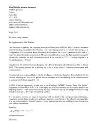 Cover Letter For ESL Teacher By Sweetnessuk