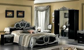 details zu klassisches schlafzimmer schwarz silber hochglanz komplett barock italienisch