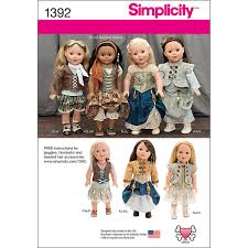 Simplicity Pattern 1391OS One Size Crafts Doll Clothes Products