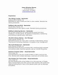 Bartender Resume Objective Examples New Sample Elegant Samples Free Unique