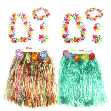 LUOEM 2 Sets Hawaii Party Dress Set Tropical Grass Dance Accessory Adult And Kid
