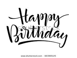 Black and white vector lettering Happy Birthday on white background Isolated vector illustration