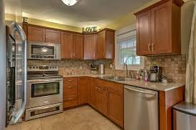 Contemporary Kitchen With Flush Hampton Bay 30x30x12 In Shaker Wall Cabinet Cognac