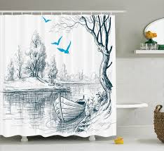 100 River House Decor Lake Boat On Calm Trees Birds Twigs Sketch Drawing Clipart Water Minimalistic Bathroom Accessories 69W X 84L Inches Extra Long By